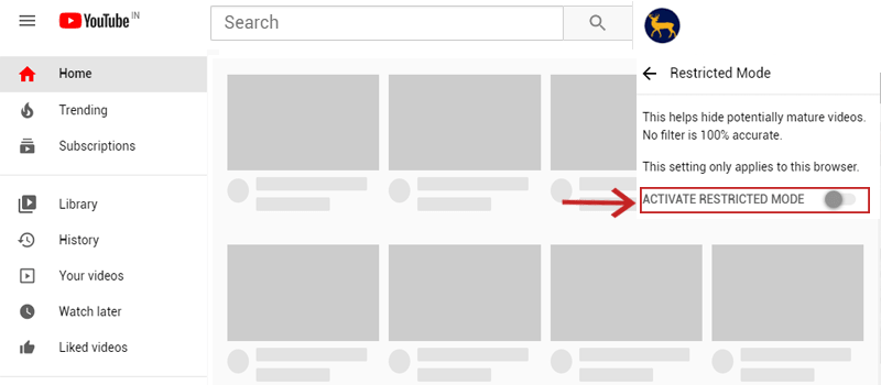 turn off the YouTube Restricted mode
