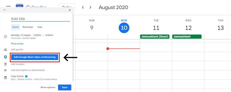 Add Google Meet video conferencing