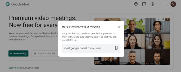 Google meet video link to share