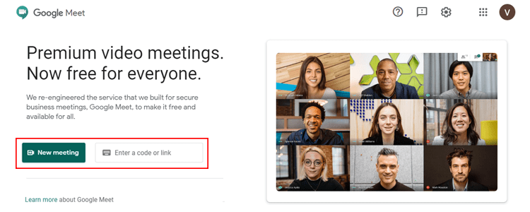 Here you start Google Meet video meeting