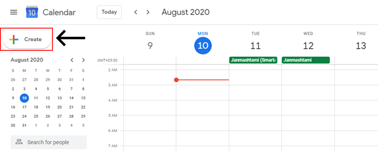 Schedule in Google calendar