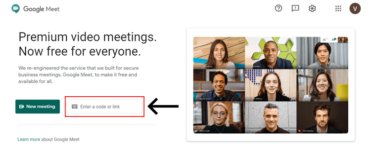 enter the Google meet video code to start the meeting